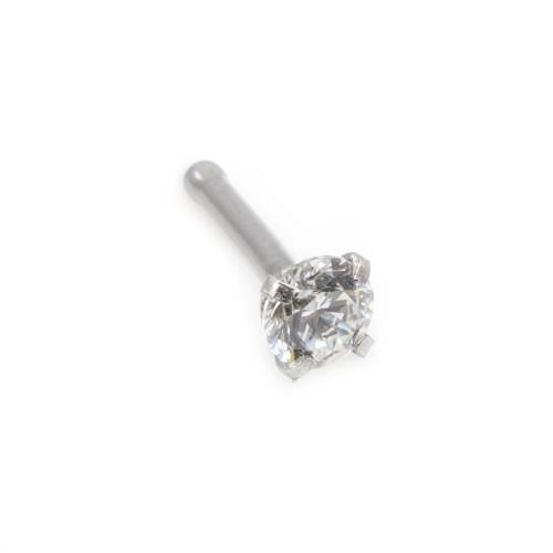 Real (PK2) Diamond 14kt White Gold Nose Bone 18g, 2mm Diamond