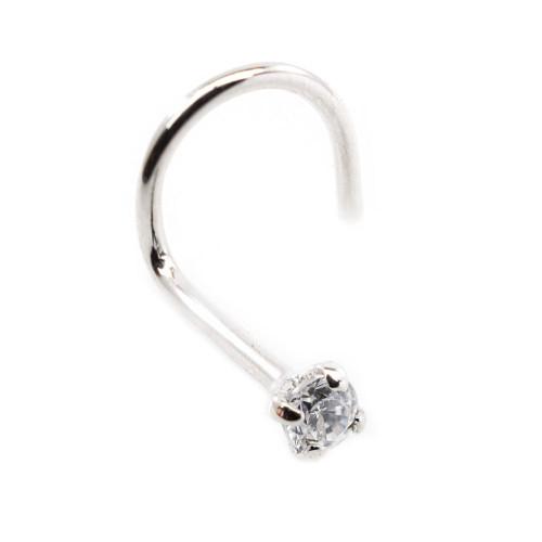 Real (PK2) Diamond 14kt White Gold Nose Screw 18g, 2.5mm Diamond
