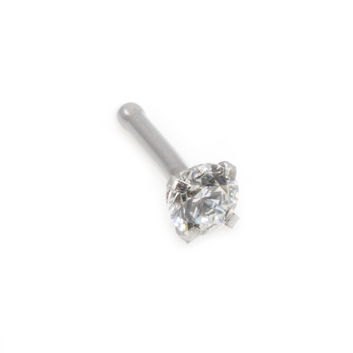 Real (SI) Diamond 14kt White Gold Nose Bone 20g, 1.5mm Diamond