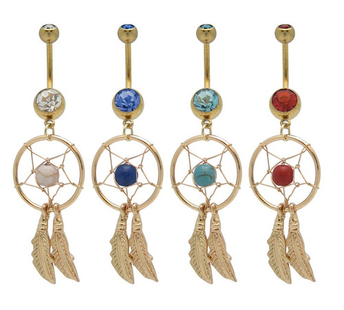 Gold Plated Dreamcatcher 14 gauge Belly Ring