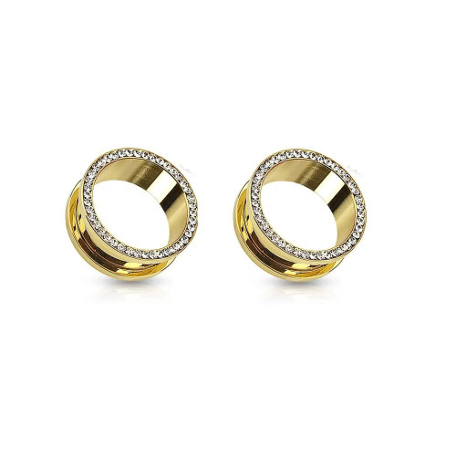 Pair of Gold Plated Screw fit double flare tunnel with cz gems