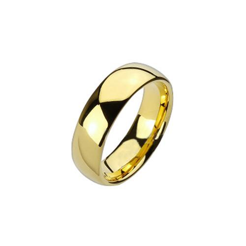 Gold Tungsten Carbide Shiny Ring