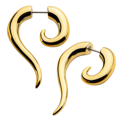 Gold Color Acrylic Faux Hook Taper Spiral Design 18G 5/16 Sold as Pair !