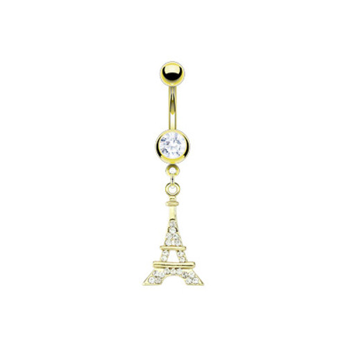 Gold Plated 14 gauge Eiffel Tower Belly Barbell
