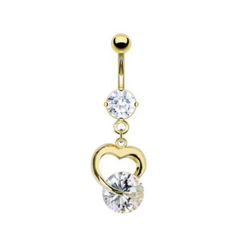 Gold Plated Prong Set Gem Dangle Heart Navel Ring