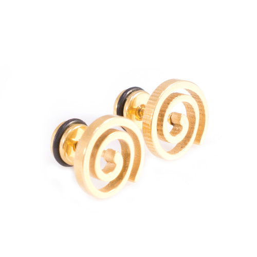 Pair of Gold Plated Spiral Brush Design Faux Plugs 16G