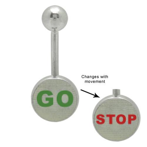 Go Stop Hologram 14 gauge Logo Belly Ring