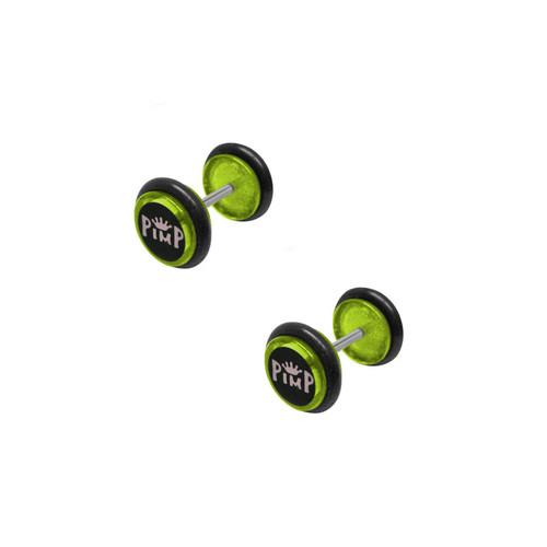 Green Acrylic 16 Gauge Pimp Logo Ear Plug
