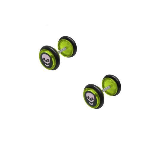 16 gauge Green Skull Logo Plugs