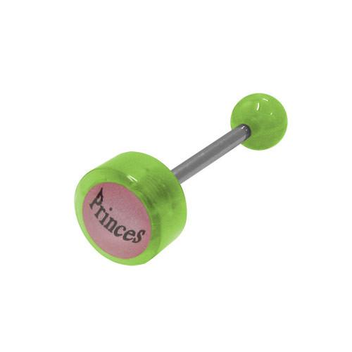 Green Beads Princess Logo Barbell Tongue Ring