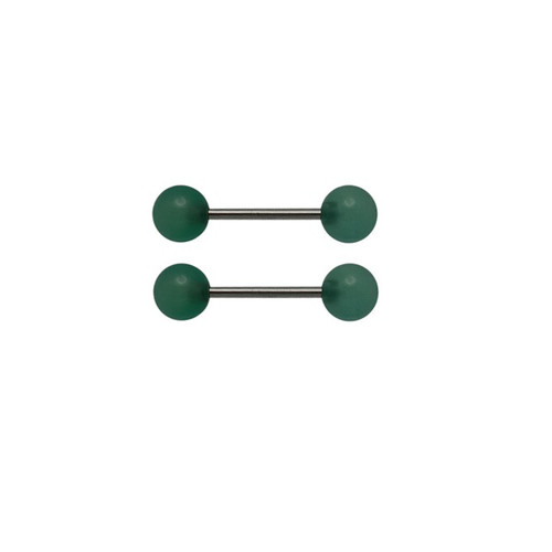 Nipple Barbell rings 14 gauge green agate semi precious stone