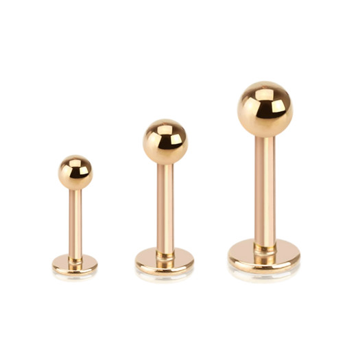 Rose Gold IP Over 316L Surgical Steel Basic Labrets/Monroe - Sold Each