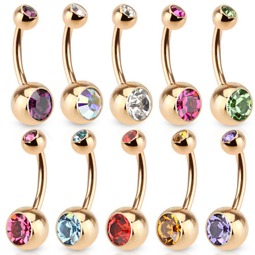 14GA Double CZs Basic Navel Ring Rose Gold IP Over 316L Surgical Steel