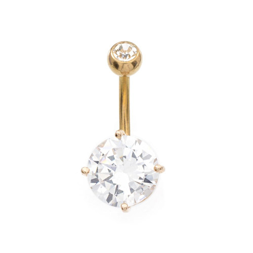 Large Clear 11mm CZ Rose Gold IP Belly Button Ring 14ga 3/8- 10mm