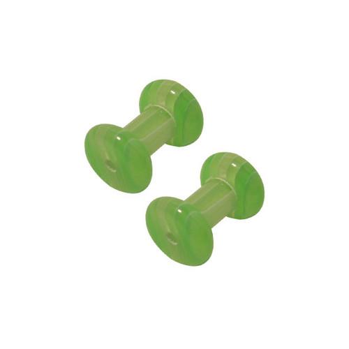 Pair of Green White Stripes Uv Acrylic Ear Plug (6 Gauge)