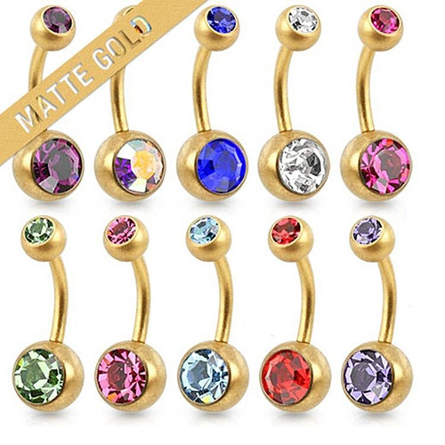 14 GA Double Jeweled Navel Ring Matte Gold IP Over 316L Surgical Steel
