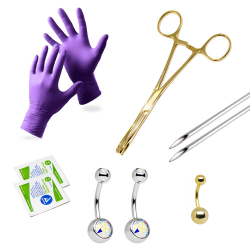 LionGothic Navel Piercing Kit Surgical Steel with Anodized Gold Forceps and Free Gift