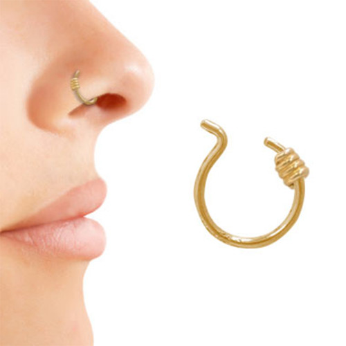 Gold Plated Coil Design Nose Clip