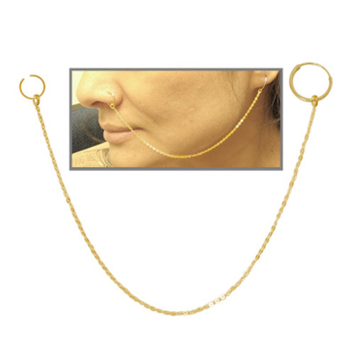 Gold Plated Nose Chain with Hoops