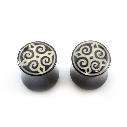 Pair of  Organic Horn Bone with Mandala Design Plugs