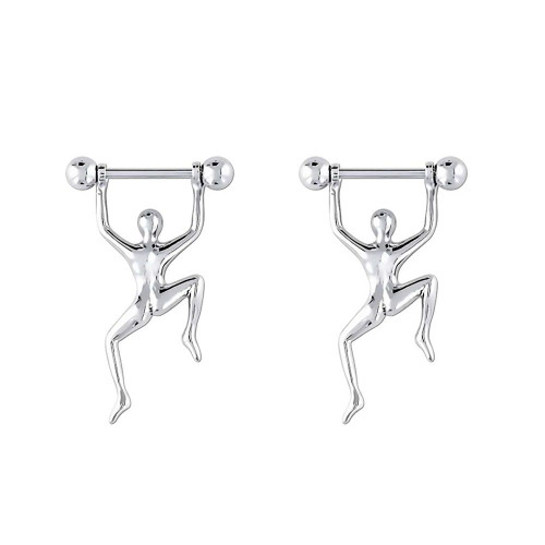Pair of Hang Man Nipple Shields Surgical Steel 14ga 16ga