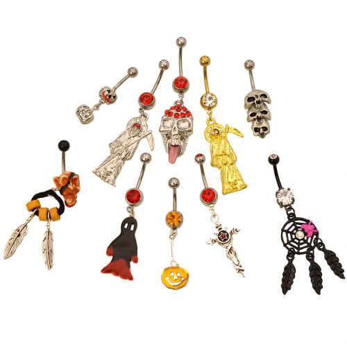 Pack of 10 Assorted Dangle Halloween Belly Button Rings 316l Surgical Steel 14ga - Out of Stock