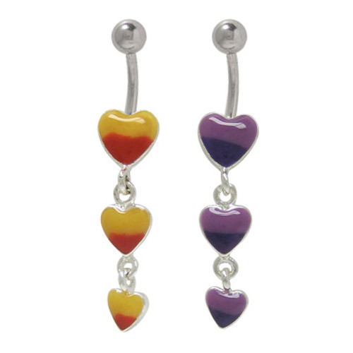 14 gauge Hand Painted Dangler Hearts Belly Button Ring