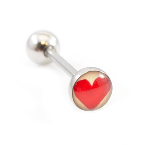Heart Logo Design Tongue Barbell 14ga 316L