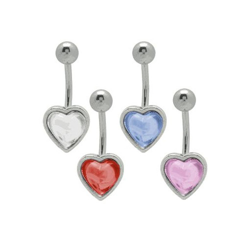 Heart Belly Button Ring 14g