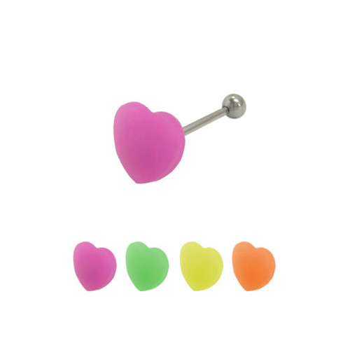 Heart French Tickler Straight Barbell Tongue Ring Surgical Steel Shaft