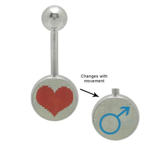 Heart Male & Female Symbol Hologram Logo {14g} Belly Ring