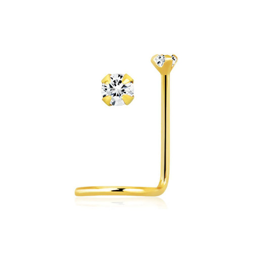 14kt Gold Nose Screw 22 gauge (0.6mm) with 1.5 mm Round Prong Set Diamond