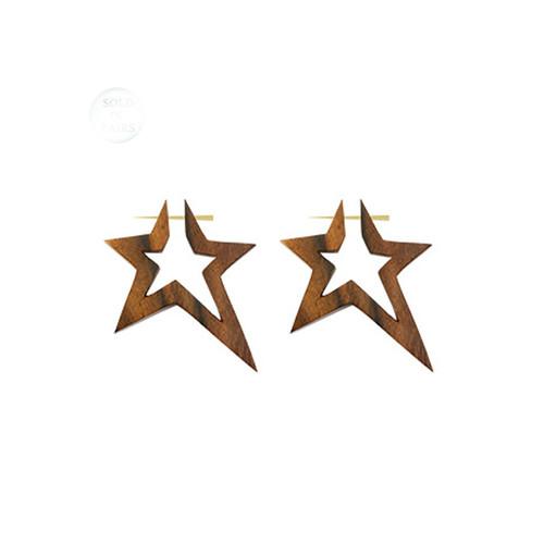 Hand Carved Wood Star Earrings