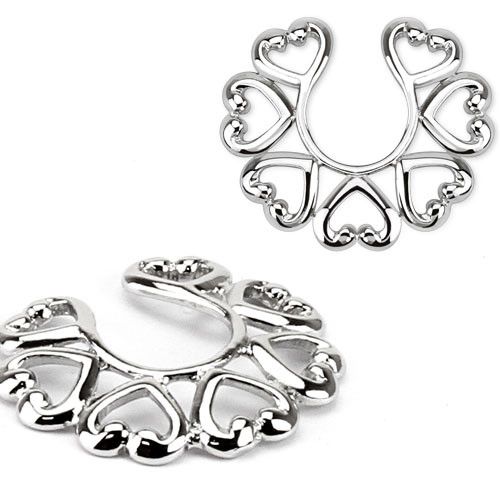 Pair of Heart Shaped Non-Piercing Nipple Clip