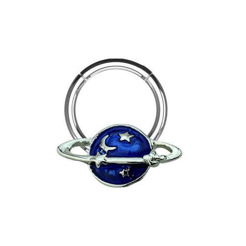 Hinged Segment Hoop Ring with NASA-Inspired Night Sky with Star  16ga 14ga