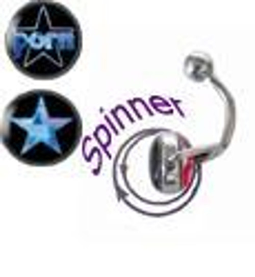 Steel Spinner with Holographic 14G Logo Navel Ring