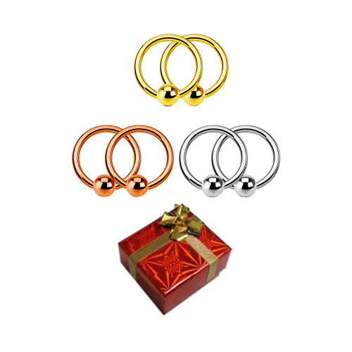 Holiday Gift set 3 pairs of Captive Bead rings can you be used almost in all piercings available in 14 gauge and 16 Gauge + Git Box