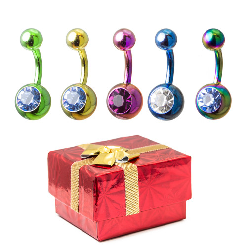 Holiday Gift Set - 14ga Anodized Titanium Belly Rings - 316L Surgical Steel + Gift Box