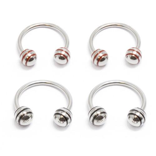 Horseshoe Ring Circular Barbell 4 Pack 18G Red & Black Striped Balls