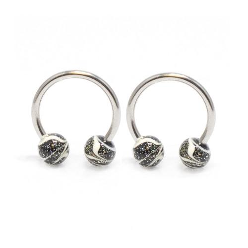 Horseshoe Ring 2pc Circular Barbell Rings Black Sparkle Paint Splatter Balls 16G