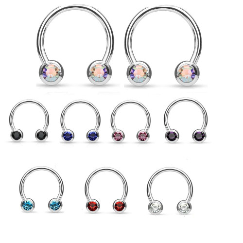 Pair of Front Facing Jewel Set Balls IP Over Surgical Steel Horseshoes For Nipple, Septum and Ear Cartilage Piercings 16ga 14ga