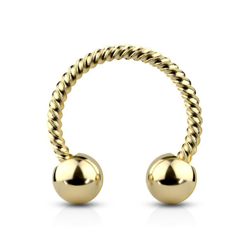 Horseshoe Circular Barbell Twisted Rope 316L Surgical Steel