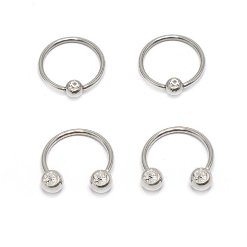 Nipple Ring Septum 4pcs Horseshoe Circular Barbell Captive Bead Ring W/ Front CZ