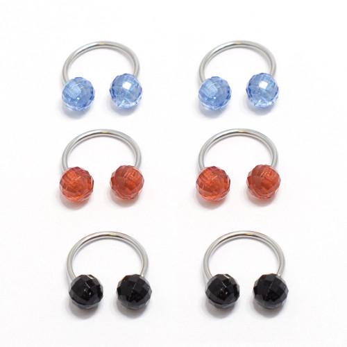 Nipple Ring Septum 6pc Horseshoe Circular Barbell Disco Balls 18G Surgical Steel