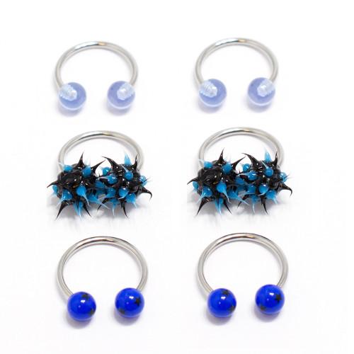 Nipple Ring Septum 6pc Circular Barbell Horseshoe Mix Blue Acrylic Balls 18G