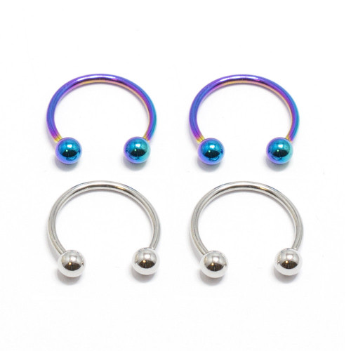Horseshoe Ring 4pc Circular Barbell 18G Anodized Piercing Jewelry Nose Lip Rings