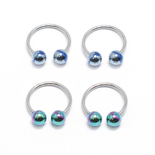 Horseshoe Ring Circular Barbell 4 Pack 18G Anodized Blue & Green Stripe Balls