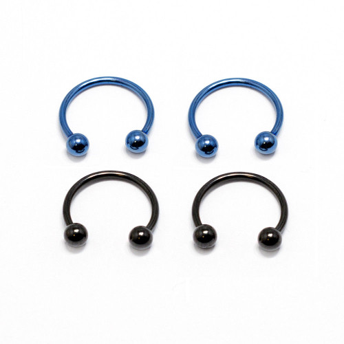 Horseshoe Ring 4 Pack Anodized 18G Circular Barbell Blue & Black Nose Lip Rings