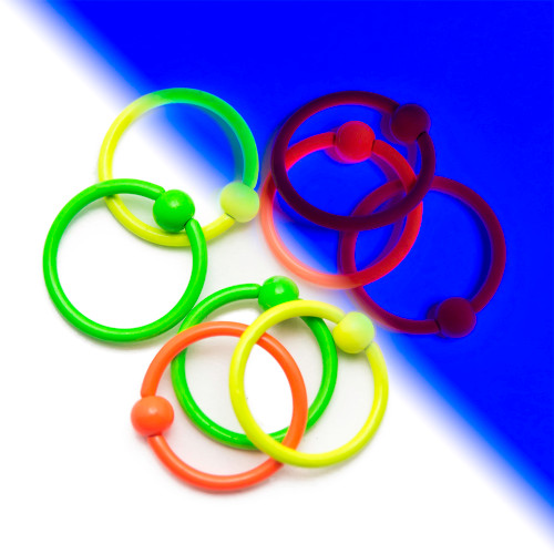 UV Glow 16ga Captive Bead Rings - 8-Pack Assorted Colors - Perfect for Lip, Nose, Ear and Cartilage Piercings - Out of Stock