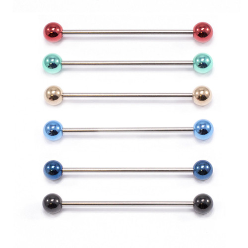 Industrial Barbell Cartilage Earring 14ga Surgical Steel  Sold Each